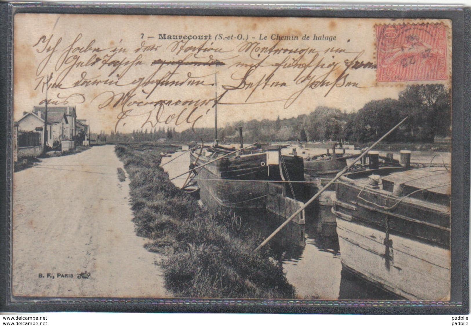 Carte Postale 78. Maurecourt  Péniches Au Chemin De Halage Très Beau Plan - Maurecourt