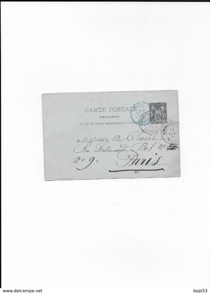 Entier Postal De CONSTANTINOPLE Pour PARIS De 1884 - Entiers Postaux