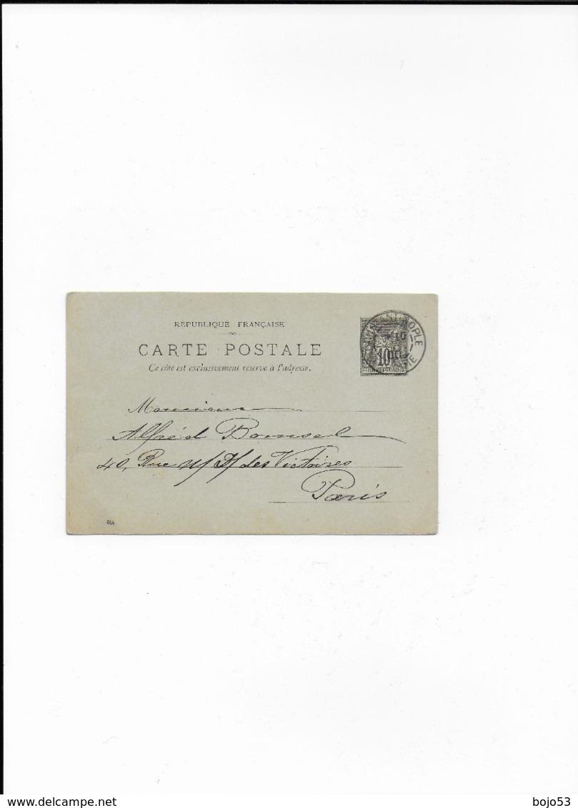 Entier Postal De CONSTANTINOPLE Pour PARIS De 1900 - Entiers Postaux
