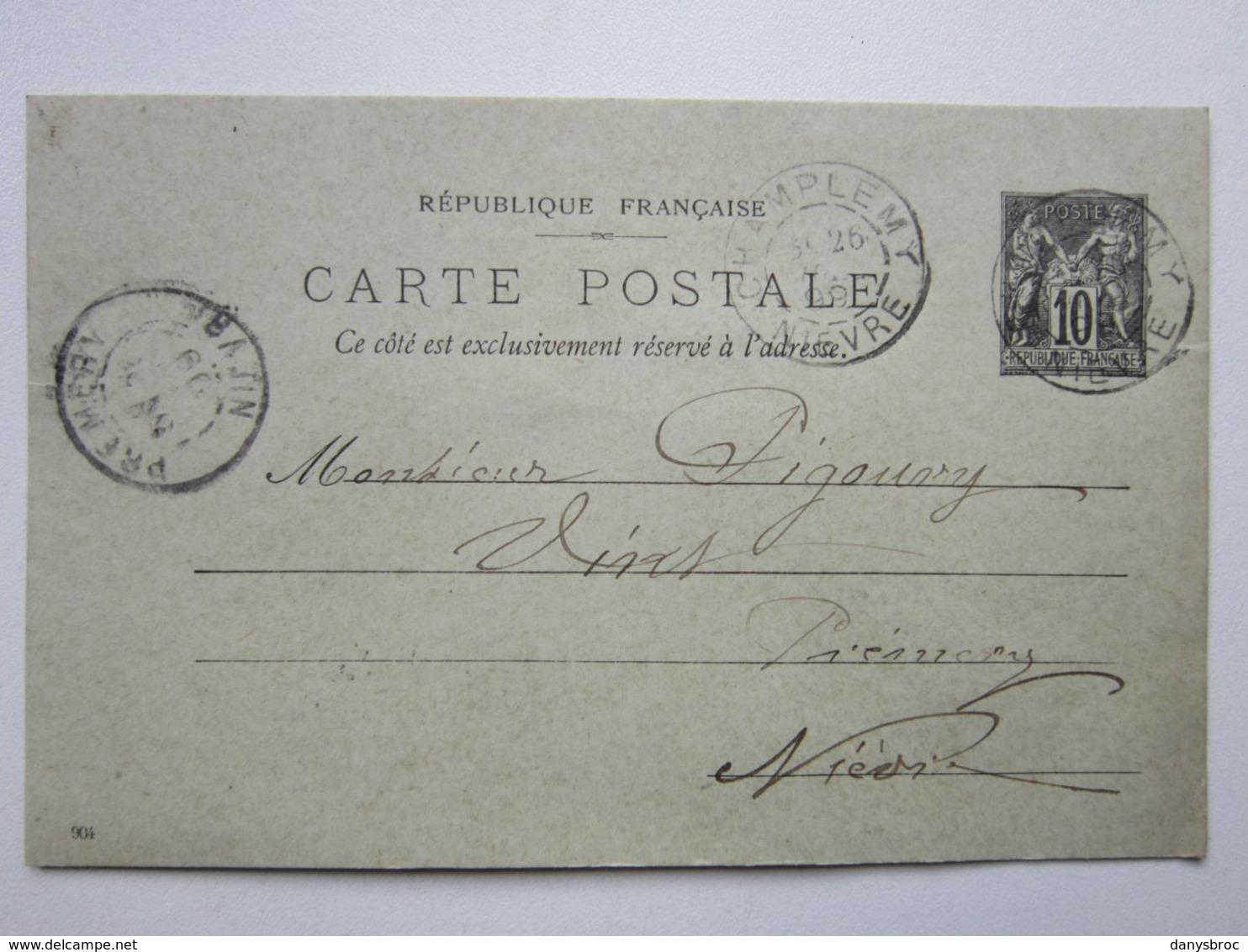 France Entier Postal Timbre Type Sage 10c Noir Carte Postale Vert Oblitéré CHAMPLEMY 58 >Prémery (58) 26/07/1899 Signée - Enteros Postales