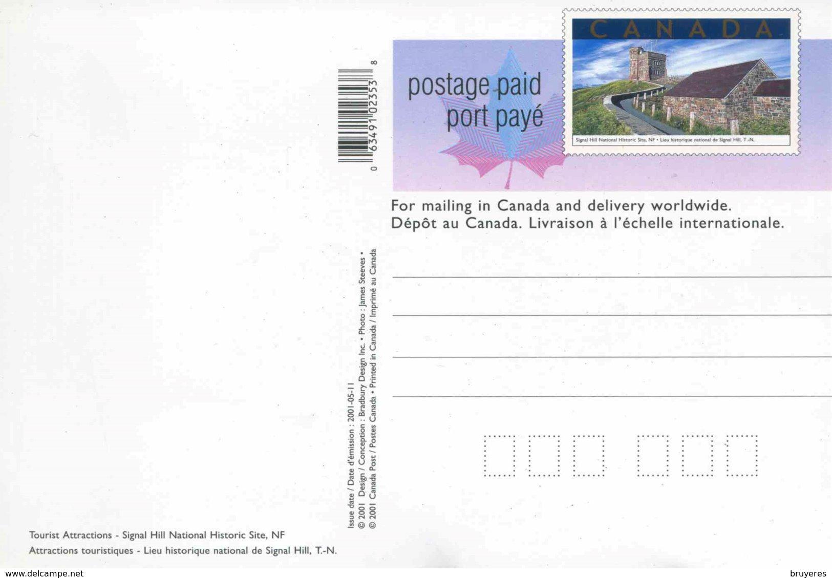 "Entier Postal De 2001 Du Canada Sur CP Avec Timbre Et Illust. ""Lieu Historique National De Signal Hill"" - 1953-.... Regering Van Elizabeth II"