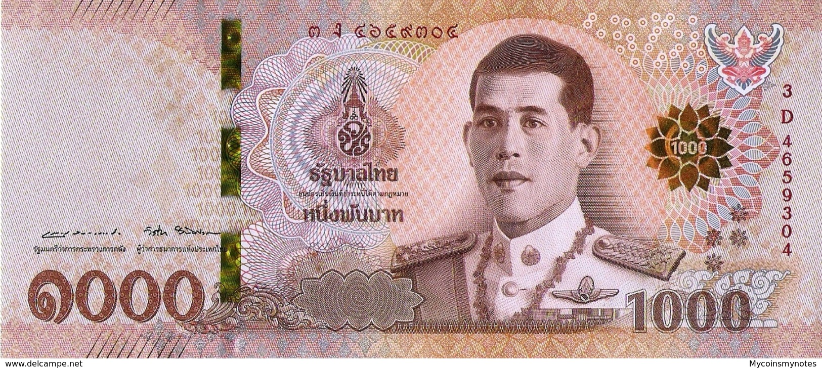 THAILAND 1000 BAHTS, 2018, P139 UNC, REI RAMA X - Thailand