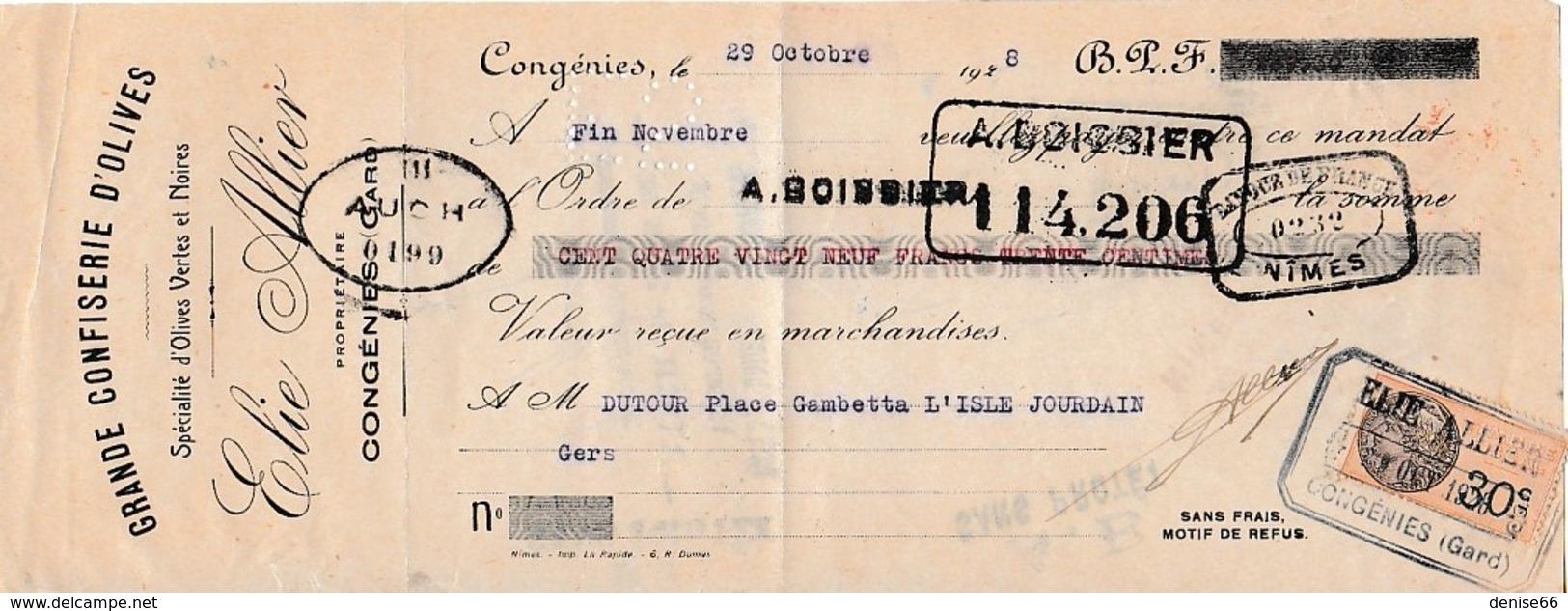 1928 - CONGENIES (30) - GRANDE CONFISERIE D'OLIVES - Elie ALLIER - MANDAT A ORDRE - Documents Historiques