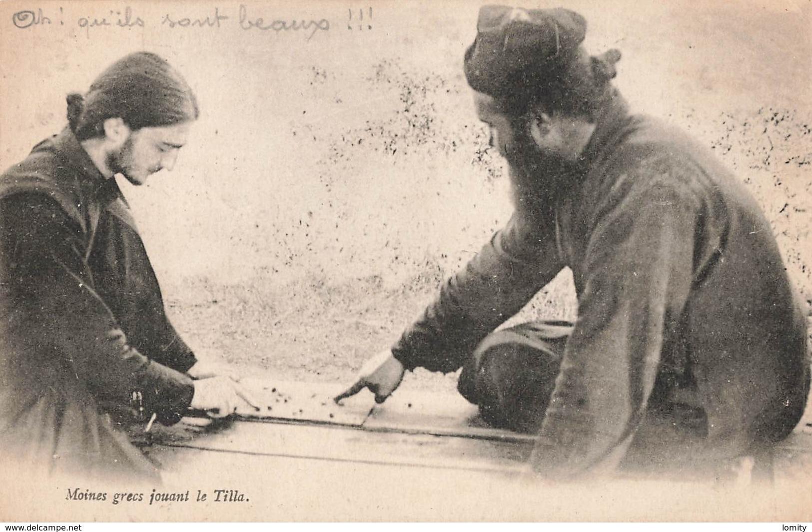 Grece Moines Grecs Jouant Le Tilla Cpa Carte Animée Carte Ecrite En 1918 - Grèce
