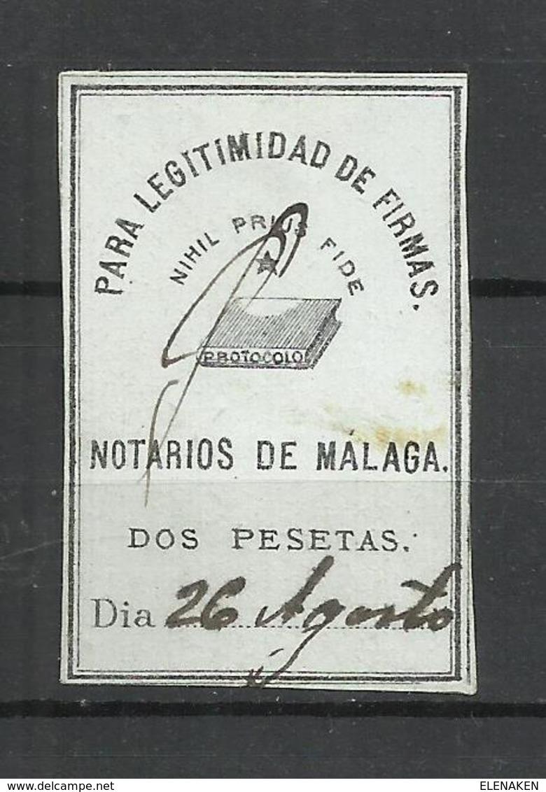 Q685A-SELLO FISCAL CORPORATIVO COLEGIO NOTARIOS MALAGA LEGITIMACIONES PARA LEGITIMIDAD DE FIRMAS 2 PESETAS - Fiscales