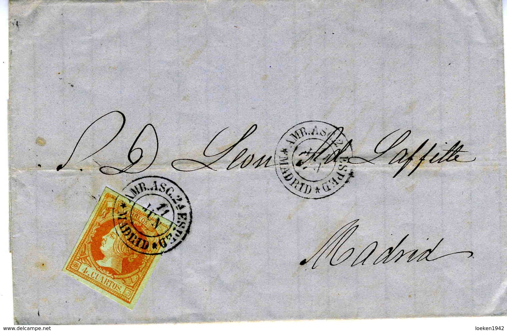 ESPAÑA 1860 CARTA  RARA  AMBULANTE  ASC 2a ESPED MADRID     LC 16 - 1850-68 Reino: Isabel II