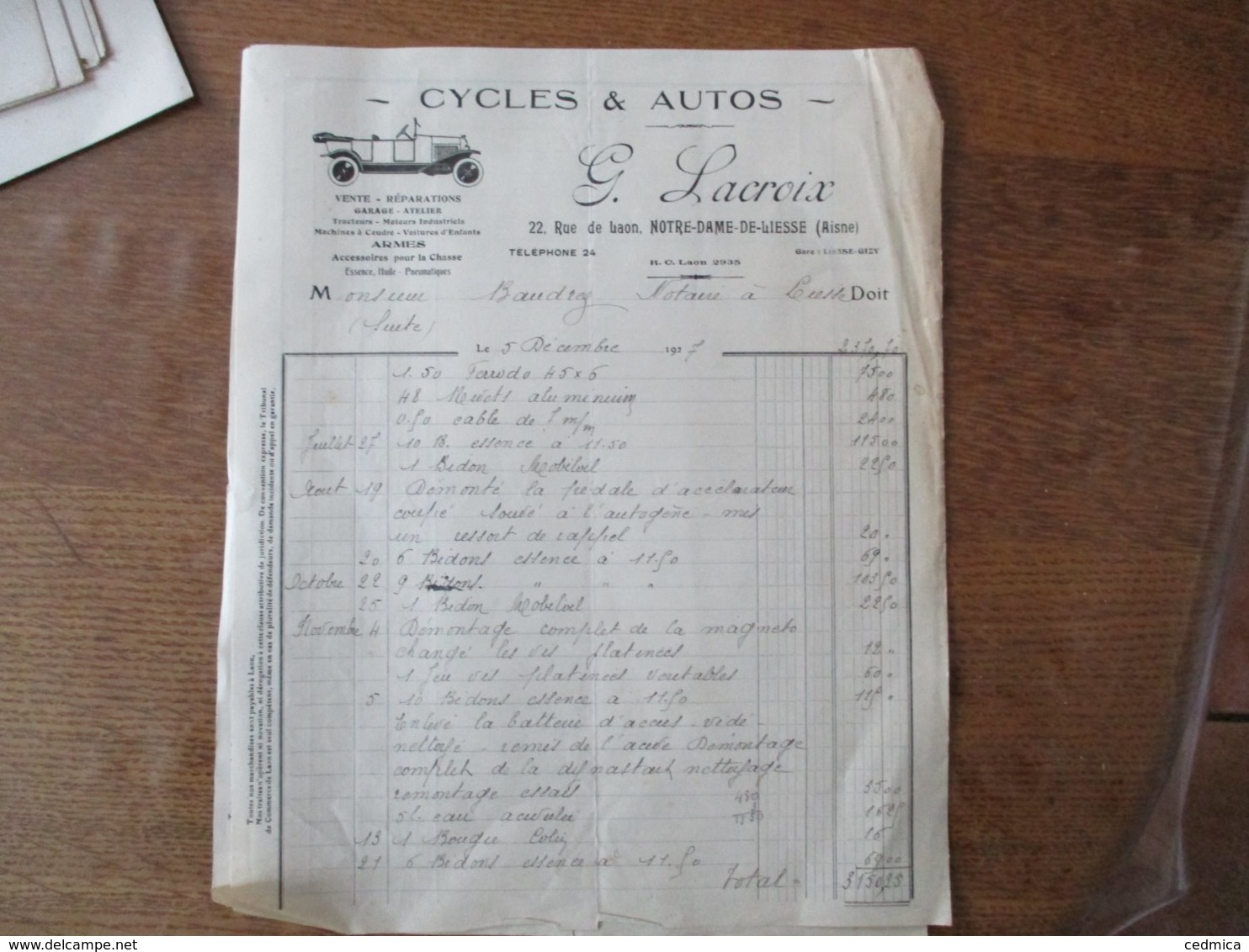 NOTRE-DAME-DE-LIESSE AISNE G. LACROIX CYCLES & AUTOS 22 RUE DE LAON FACTURE DU 5 DECEMBRE 1927 - Frankreich