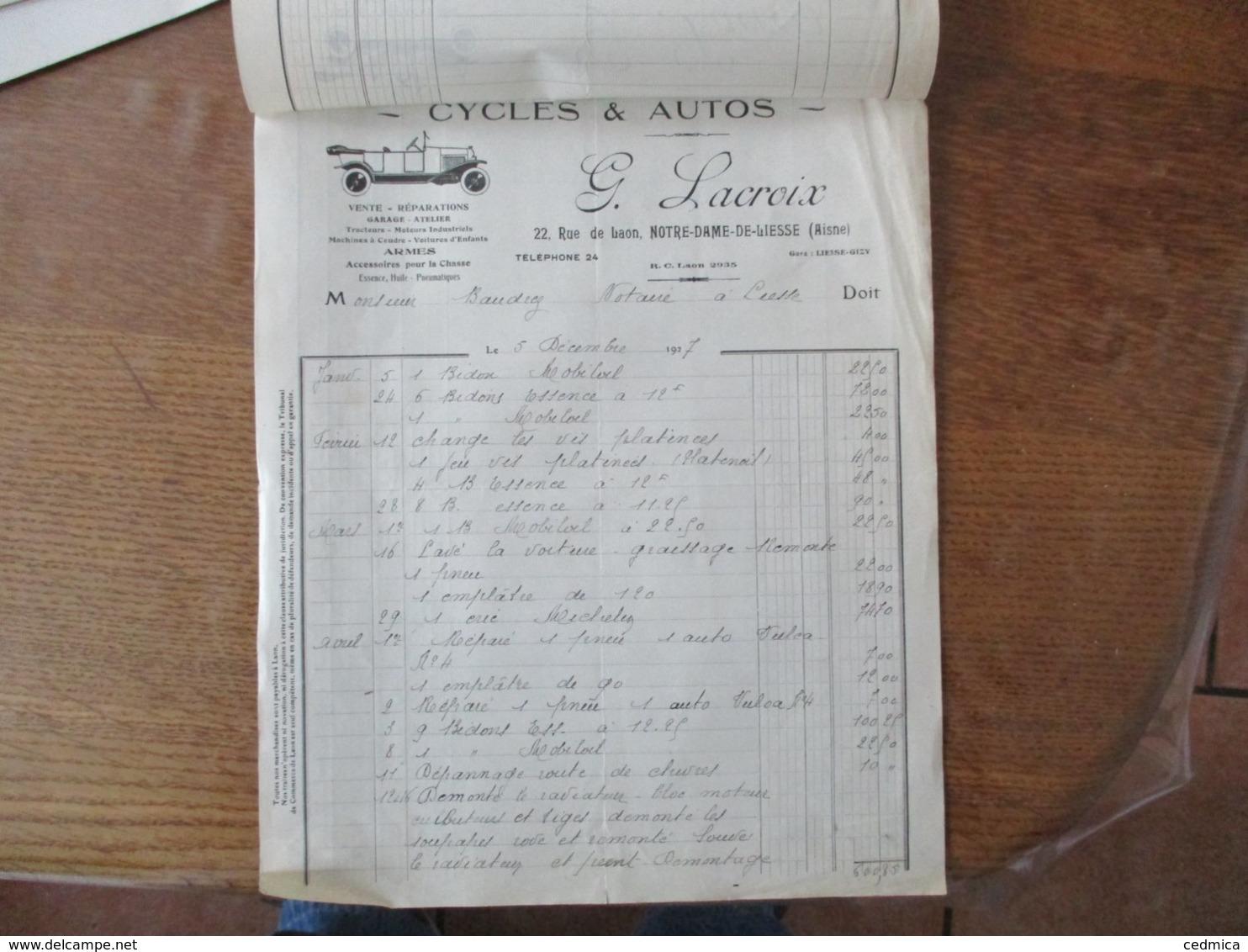 NOTRE-DAME-DE-LIESSE AISNE G. LACROIX CYCLES & AUTOS 22 RUE DE LAON FACTURE DU 5 DECEMBRE 1927 - France