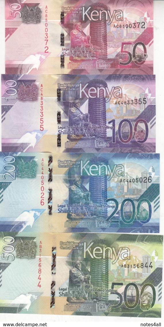 KENYA 50 100 200 500 SHILLINGS 2019 P- NEW UNC SET */* - Kenia