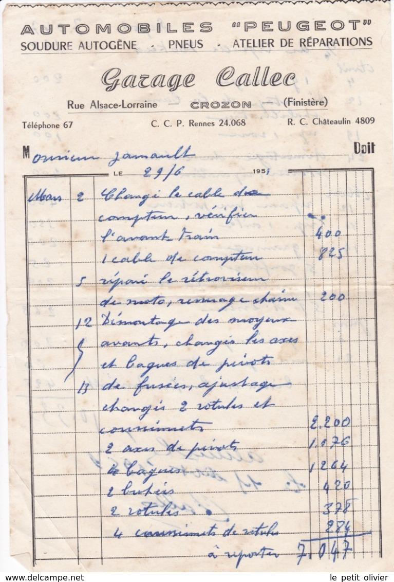 FACTURE 1951 AUTOMOBILE PEUGEOT GARAGE CALLEC  / CROZON FINISTERE / - 1950 - ...