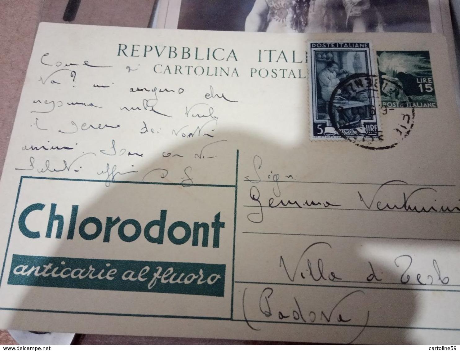 INTERO POSTALE ITALIA VIAGGIATO L.15 CHLORODONT -ANNO 51   HF1198 - 1946-.. Republiek