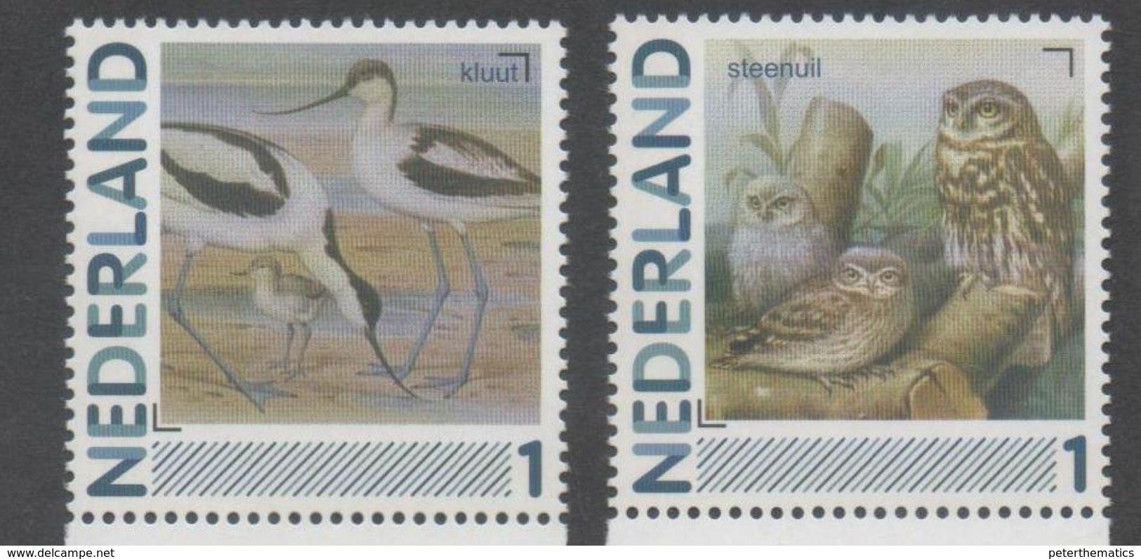 NETHERLANDS, MNH, PERSONALIZED STAMPS, BIRDS, OWLS,  2v - Uilen