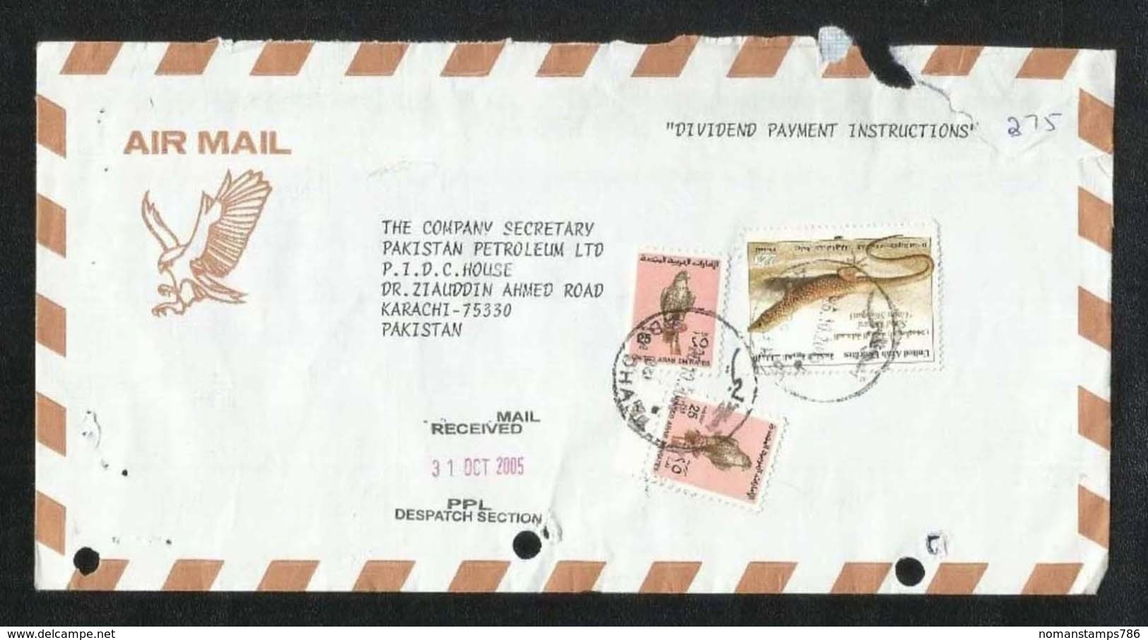 United Arab Emirates UAE Despatch POSTMARK Air Mail Postal Used Cover Abu Dhabi To Pakistan Desert Animal - Abu Dhabi