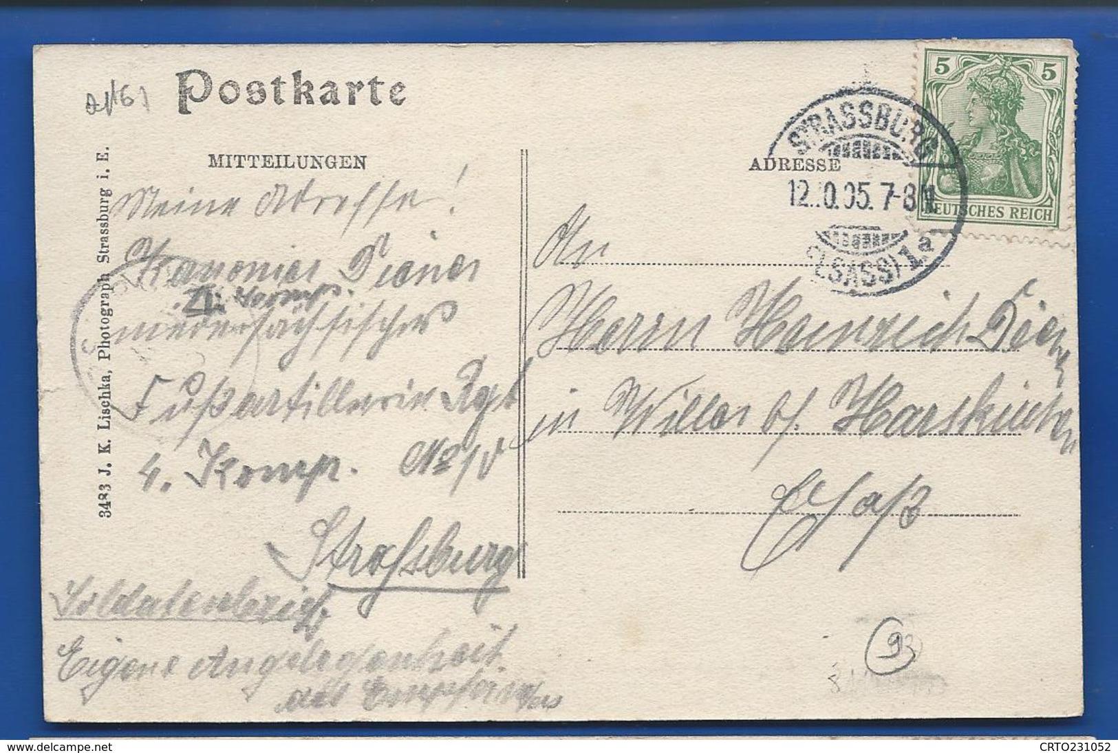STRASBOURG   I Bat Niedersächsisches Fuss Art Rgt N° 10    Animées      écrite En 1905 - Strasbourg