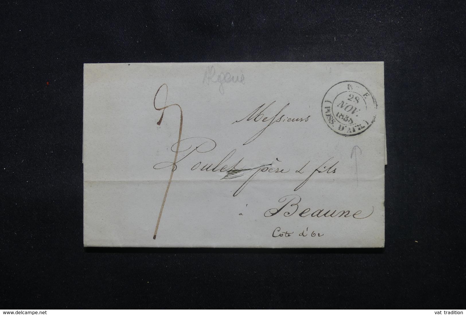 """FRANCE  / ALGÉRIE - Oblitération """" Poss. D'Afr. """" Sur Lettre Pour La France En 1838 - L 45176 - Marcophilie (Lettres)"""