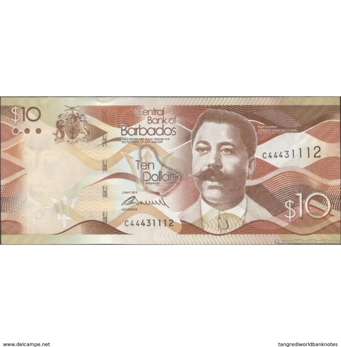TWN - BARBADOS 75a - 10 Dollars 2.5.2013 Prefix C44 - Signature: Worrell UNC - Barbados