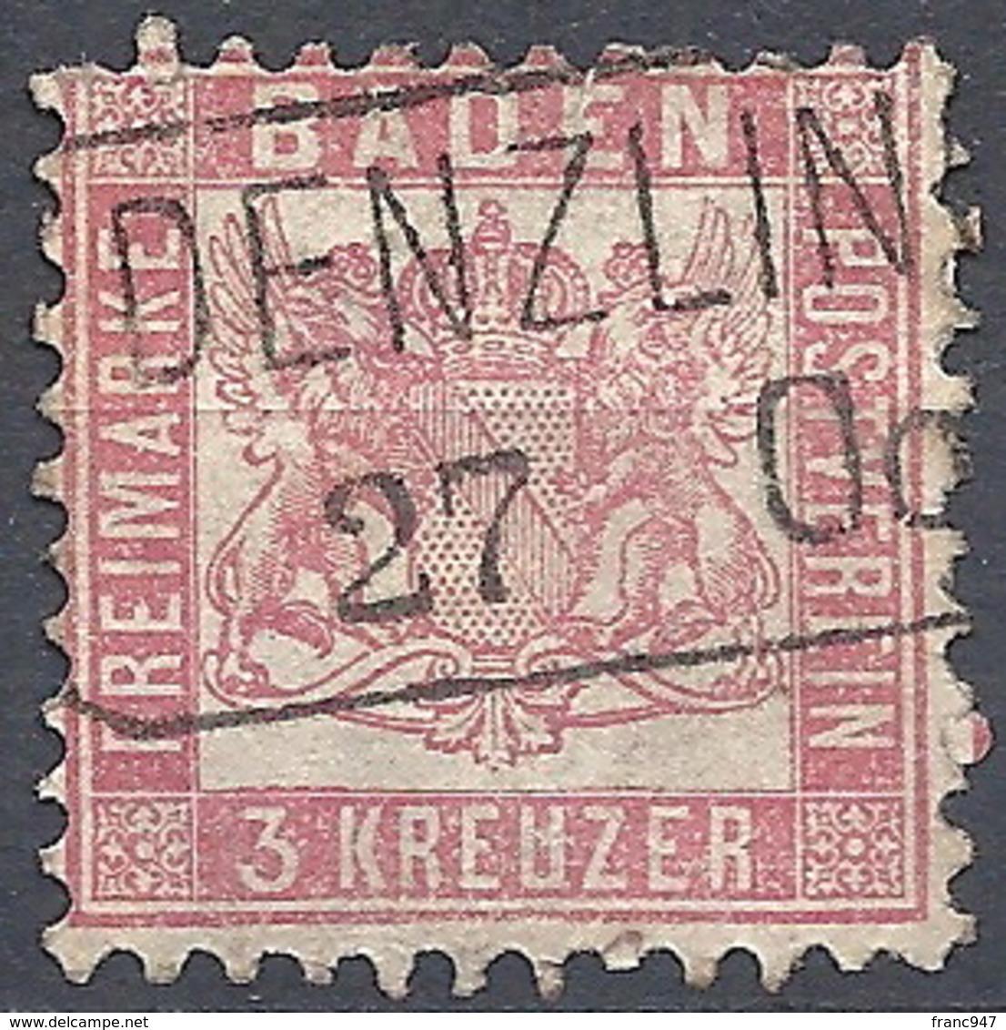 Baden, 1862 Coat Of Arms (background White), 3kr Rose, Prf. 10 # Michel 18 - Scott 20 - Yvert 17 Used - Baden