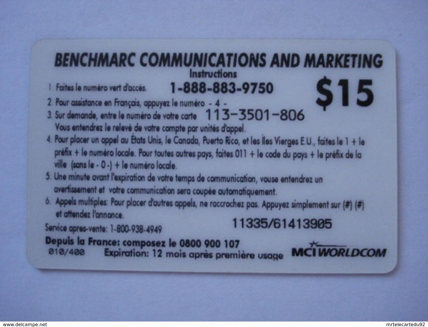 """Carte Téléphonique Prépayée """" MCI Worldcom """" (utilisé). Petit Tirage 010 Sur 400 - Frankrijk"""