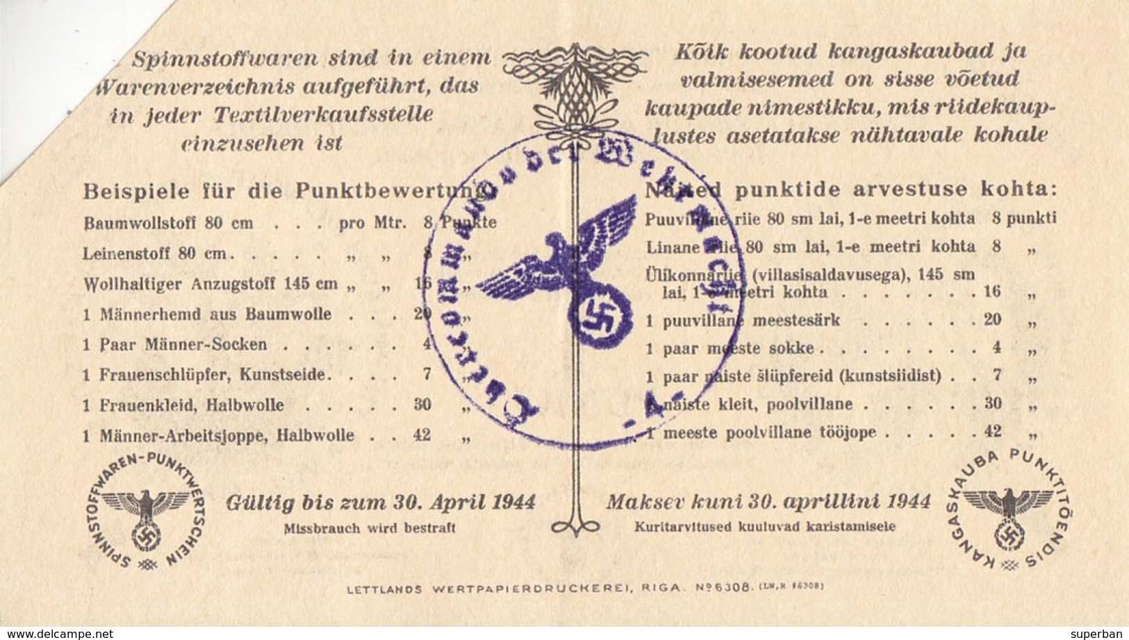 ESTLAND / OSTLAND - 1944 : 1 PUNKT - WW II - GERMAN OCCUPATION Of BALTIC STATES : ESTONIA / EESTI (ad140) - Estonia