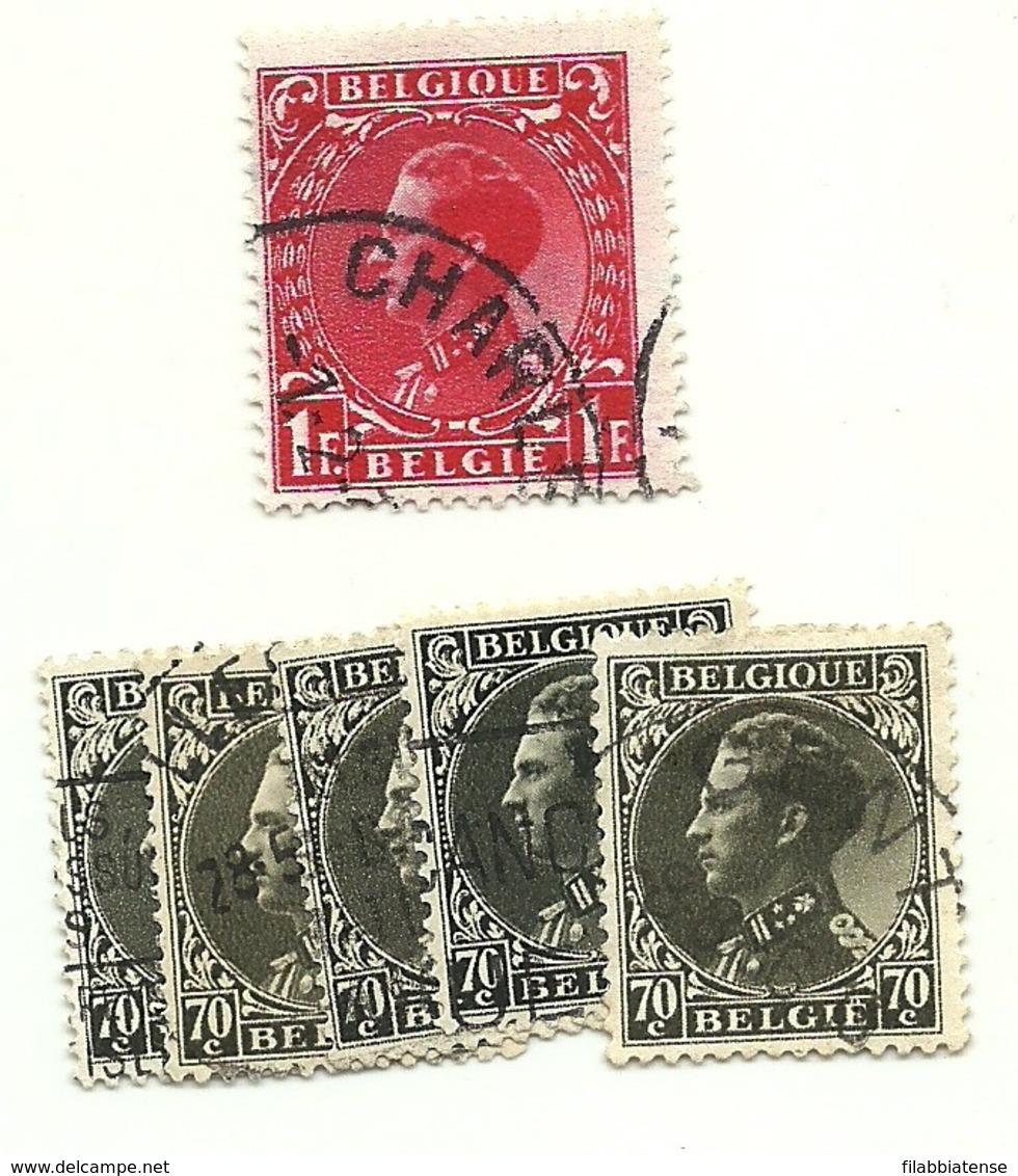 1934 - Belgio 401x5 + 403 Effigie                  C3774 - 1935 – Brussels (Belgium)