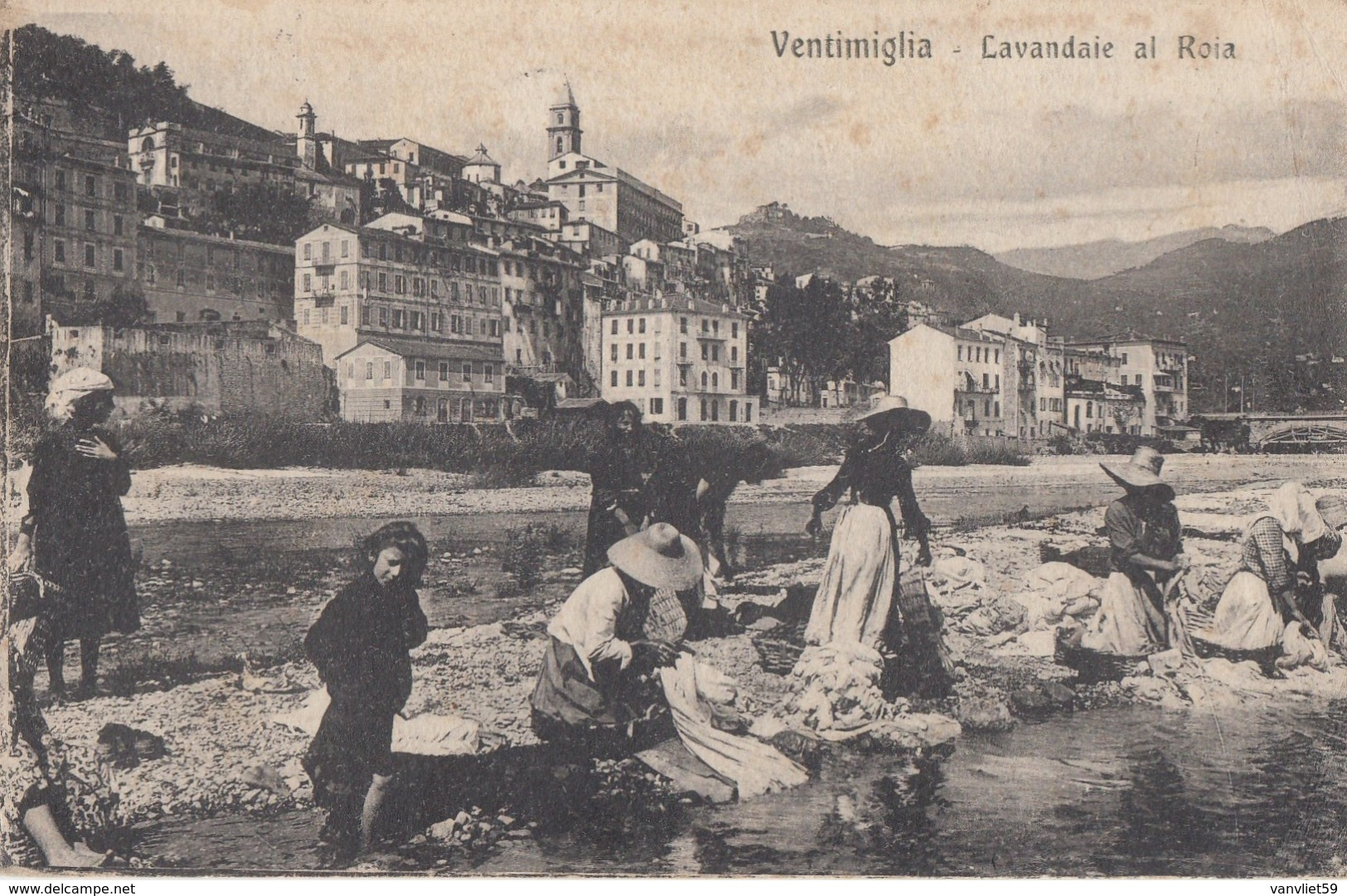 VENTIMIGLIA-IMPERIA-LAVANDAIE AL ROIA-ANIMAZIONE IN PRIMO PIANO-CARTOLINA VIAGGIATA IL 17-4-1922 - Imperia
