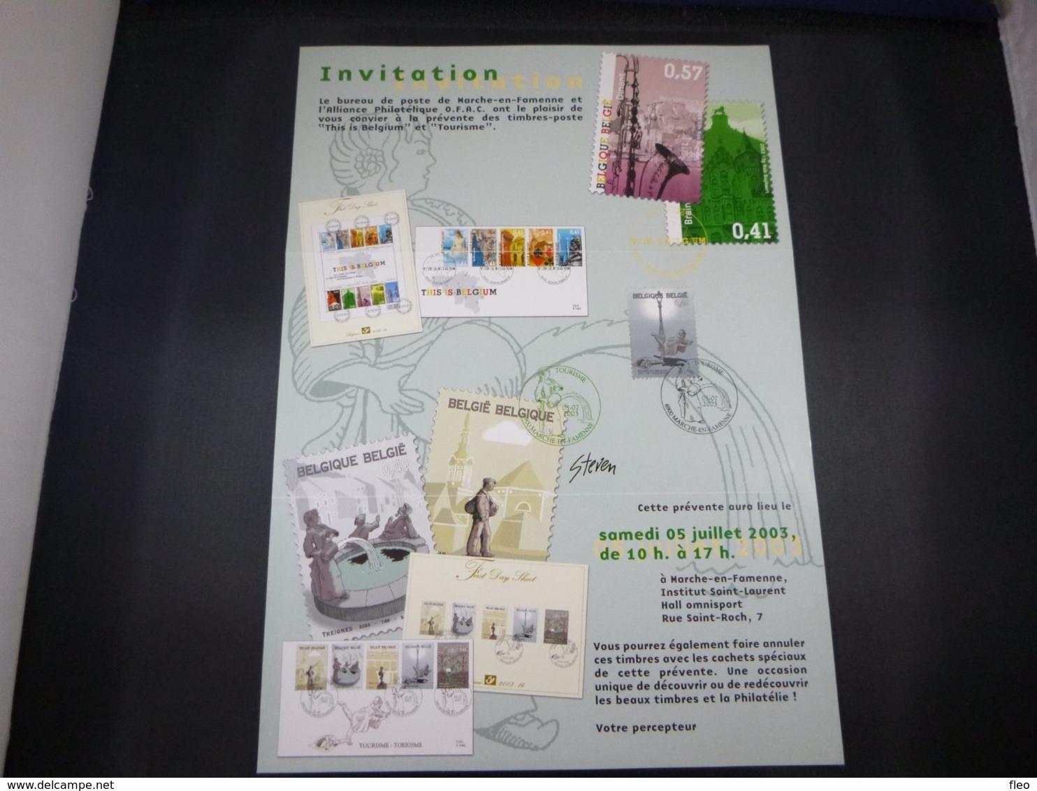 """BELG.2003 3197 FDC (Marche En Fa) Op/sur :"""" Invitatie Voorstelling Reeks Toerisme / Invitation Première Serie Tourisme """" - FDC"""