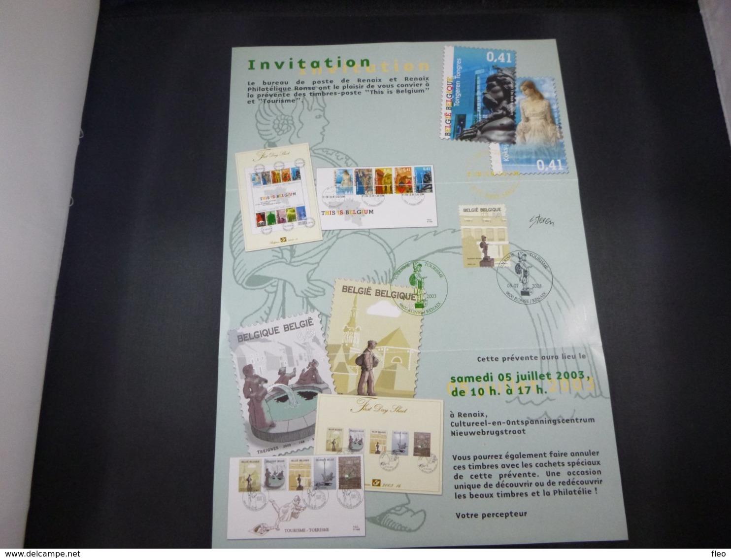 """BELG.2003 3194 FDC (Ronse) Op/sur :"""" Invitatie Voorstelling Reeks Toerisme / Invitation Première Serie Tourisme """" - FDC"""