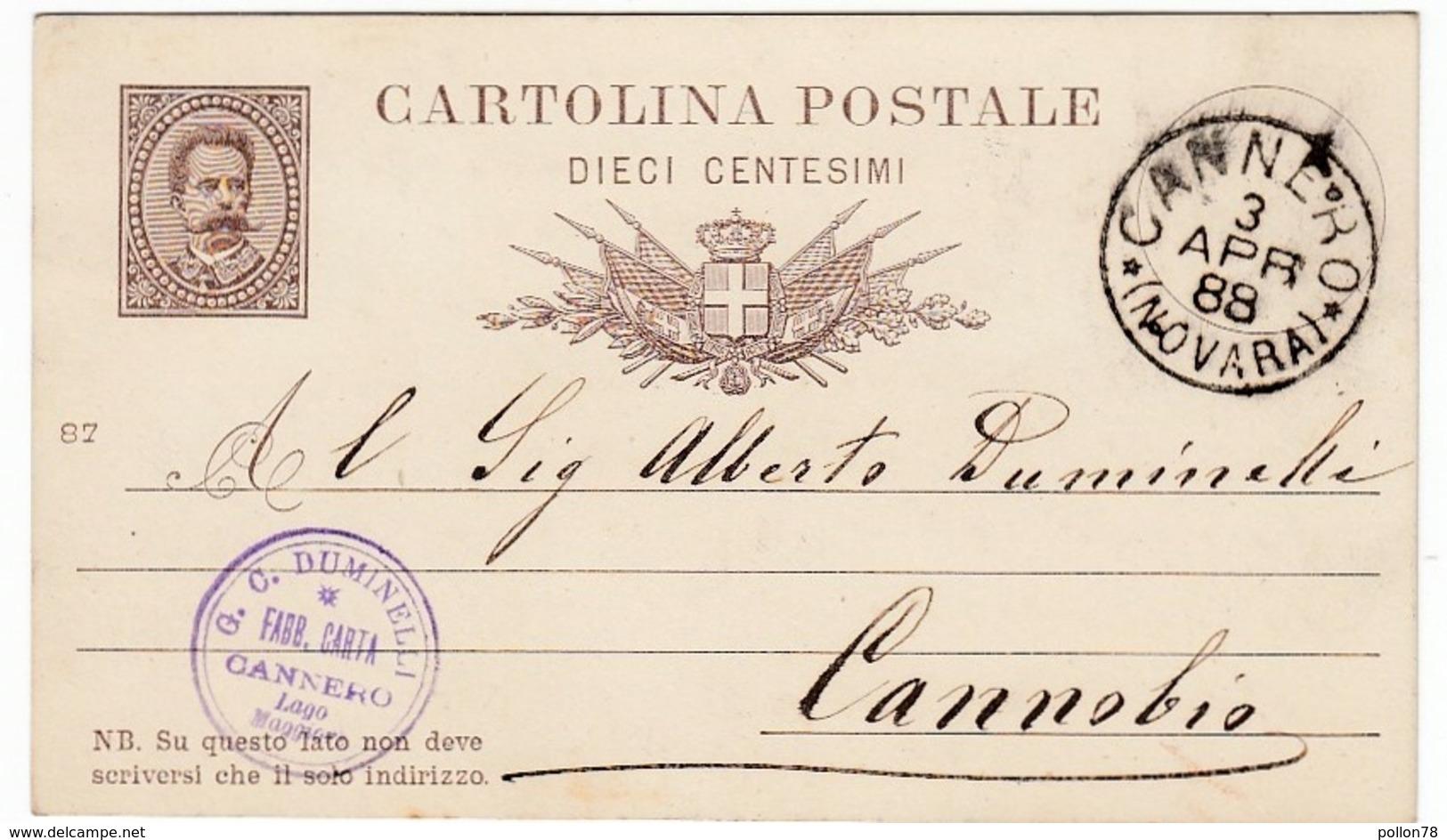 CARTOLINA POSTALE - DIECI CENTESIMI - TIMBRO CANNERO - NOVARA - 1888 - VERBANIA - Francobolli (rappresentazioni)