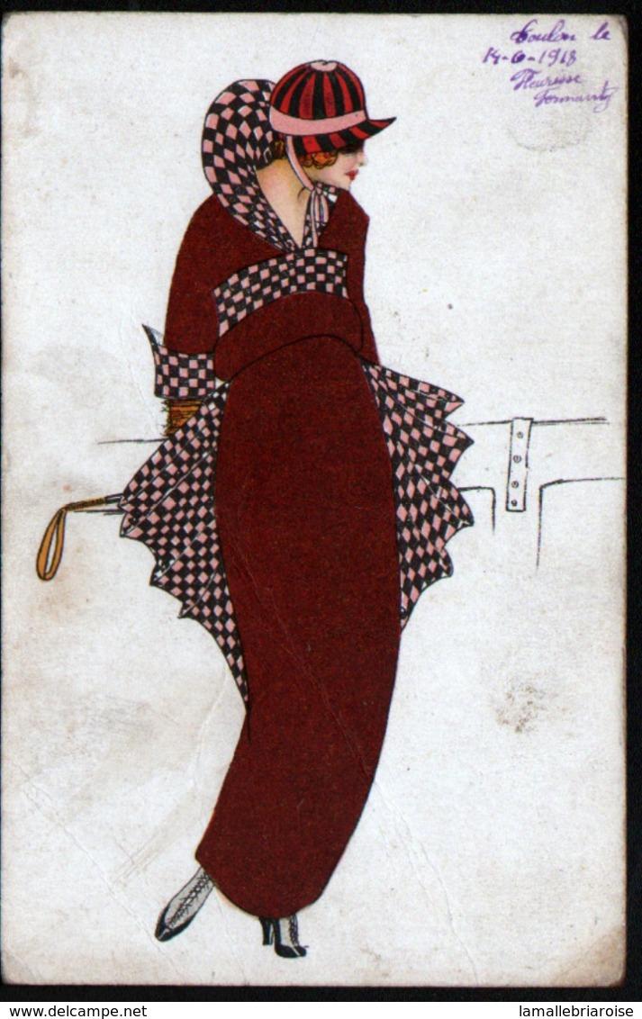 ILLUSTRATEUR  , Femmes Avec Chapeau - Künstlerkarten