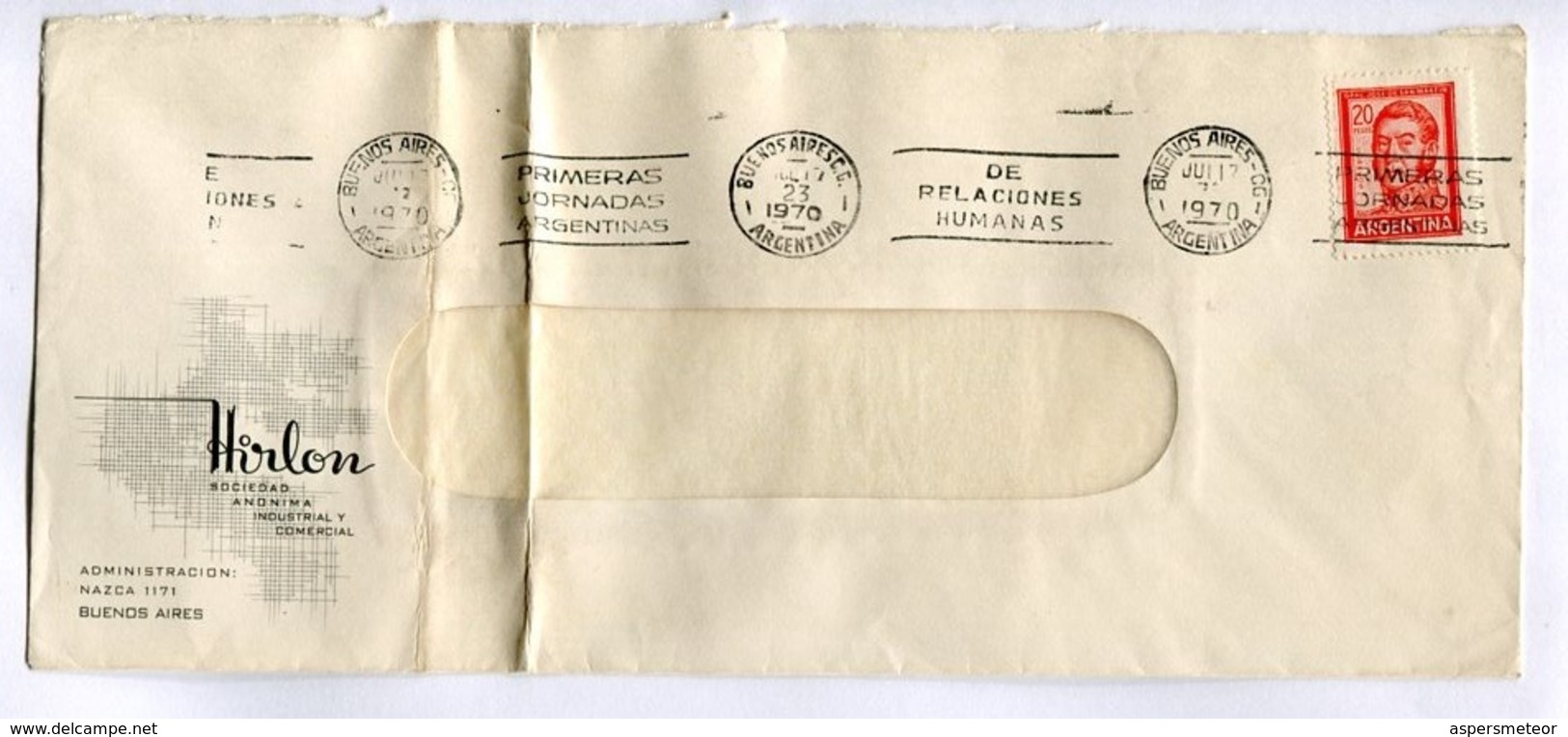 """ARGENTINA COMMERCIAL COVER - CIRCULATED FROM """"HIRLON"""" BUENOS AIRES. YEAR 1970 FRANKING MECHANIC -LILHU - Storia Postale"""