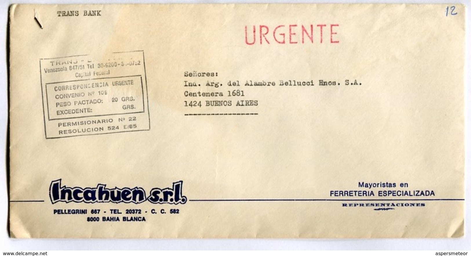 """ARGENTINA COMMERCIAL COVER - CIRCULATED FROM """"INCAHUEN"""" BAHIA BLANCA TO BUENOS AIRES. CIRCA's 1970 URGENTE -LILHU - Storia Postale"""