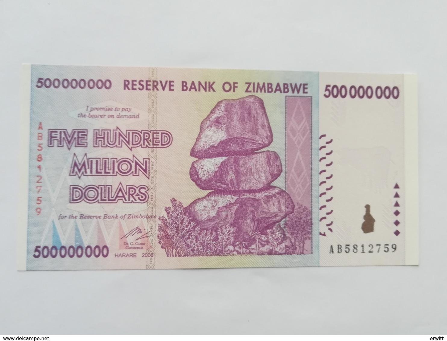 ZIMBABWE 500000000 DOLLARS 2008 - Zimbabwe
