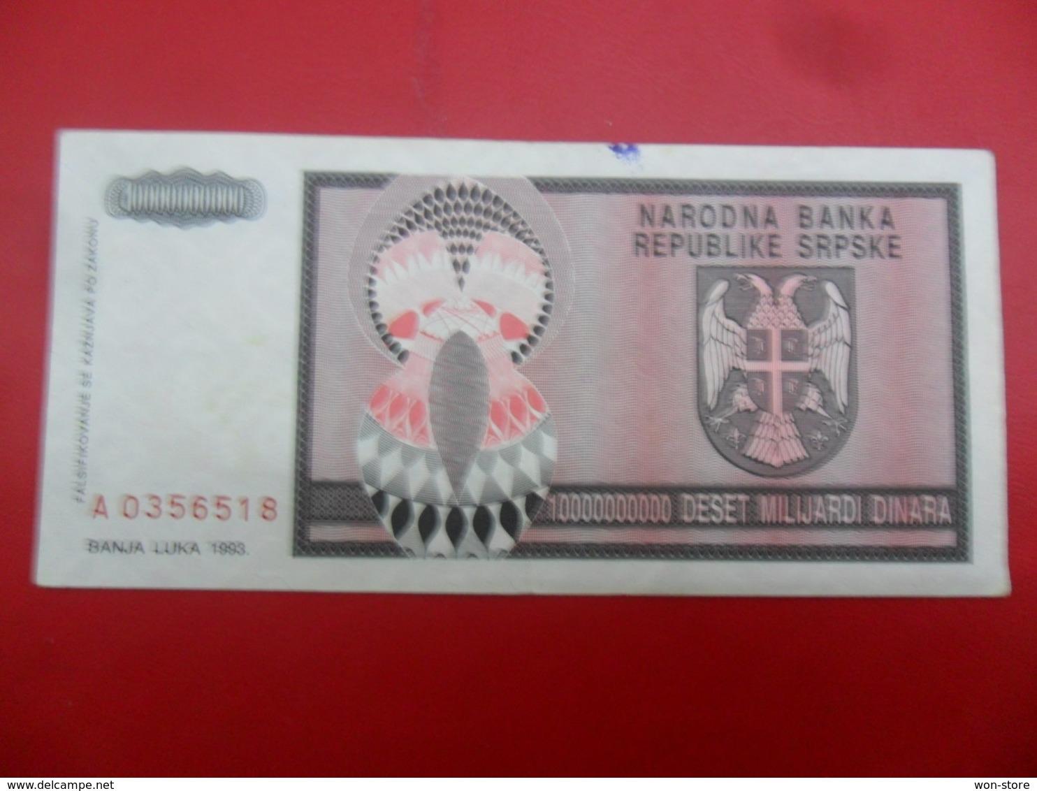 NB Republika Srpska 10,000,000,000 Dinara 1993, P-148a, Price For 1 Pcs - Bosnia Erzegovina