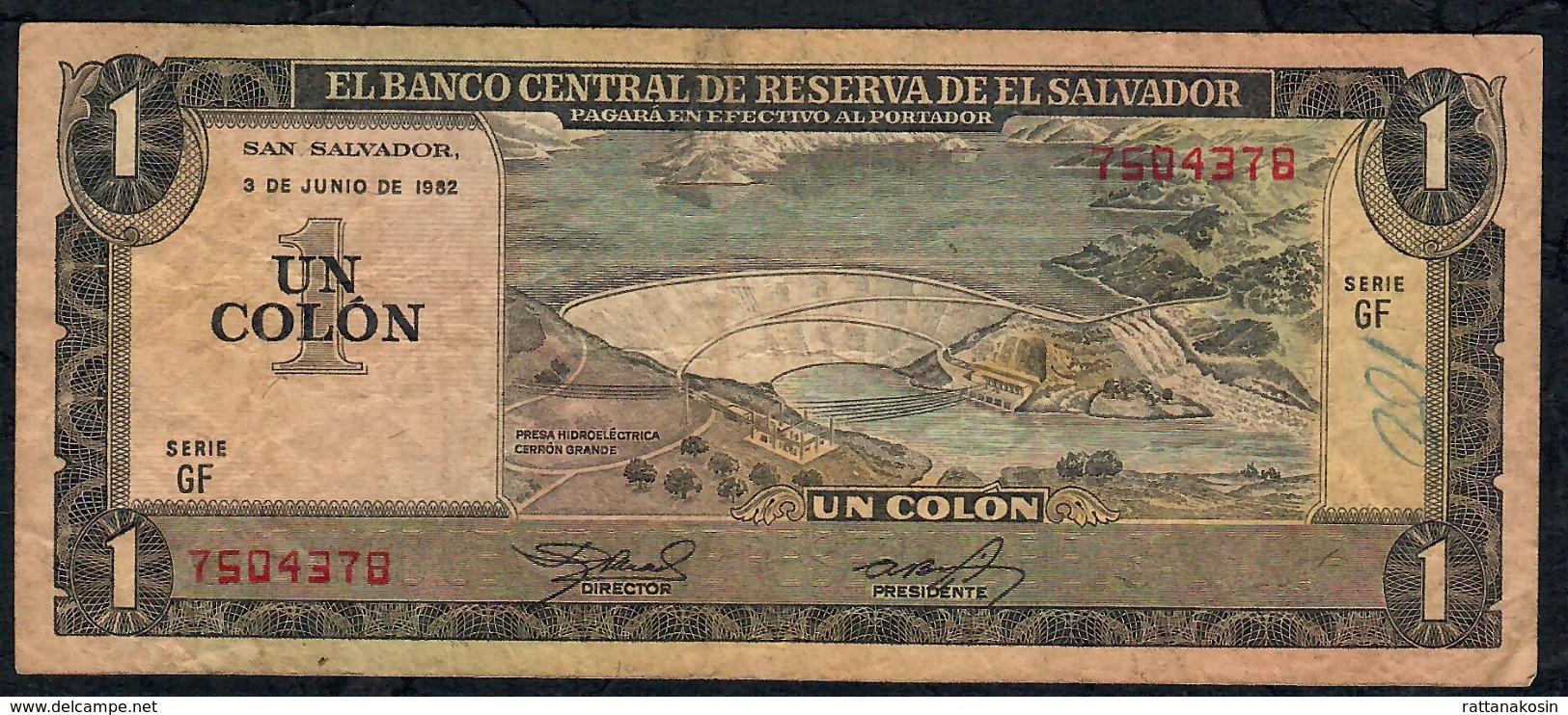 EL SALVADOR P133A 1 COLON 3.6.1982 # GF      FINE NO P.h. ! - El Salvador