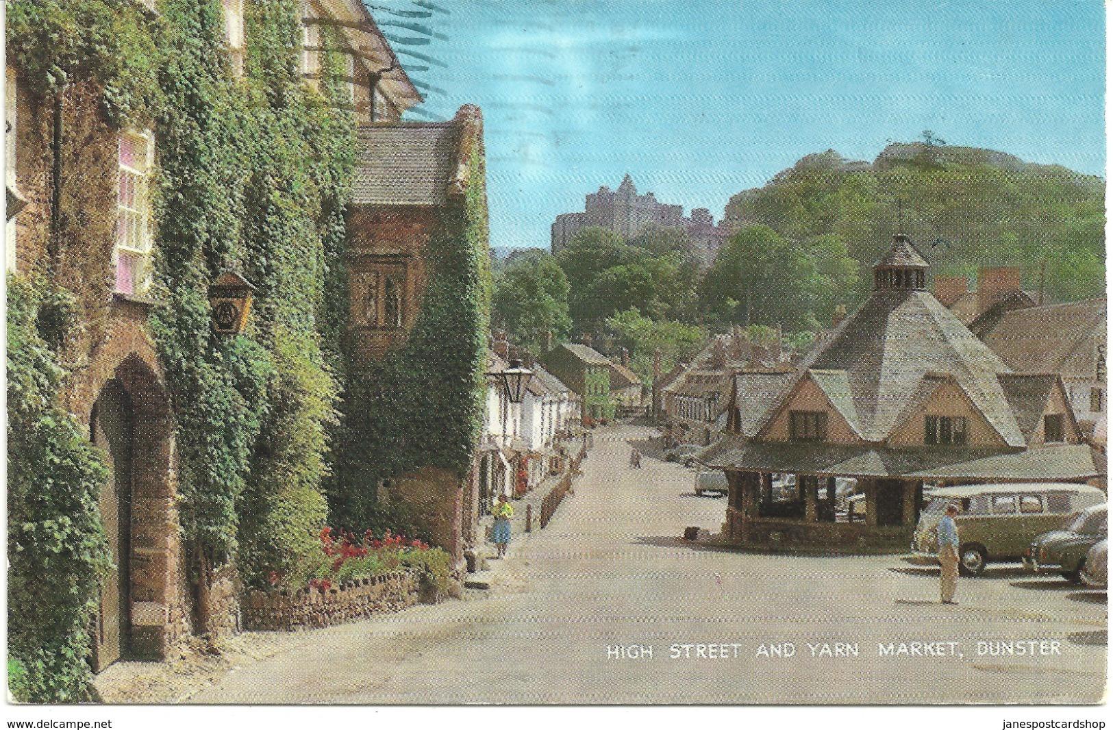 HIGH STREET AND YARN MARKET - DUNSTER - WITH VW GOLF CAMPER VAN - England