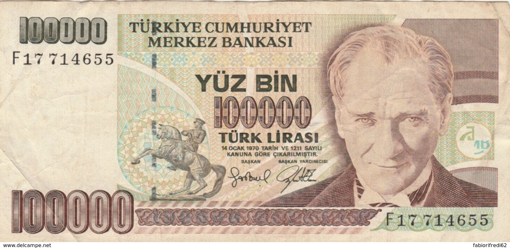 BANCONOTA TURCHIA 100000 LIRA VF (VX1575 - Turquia