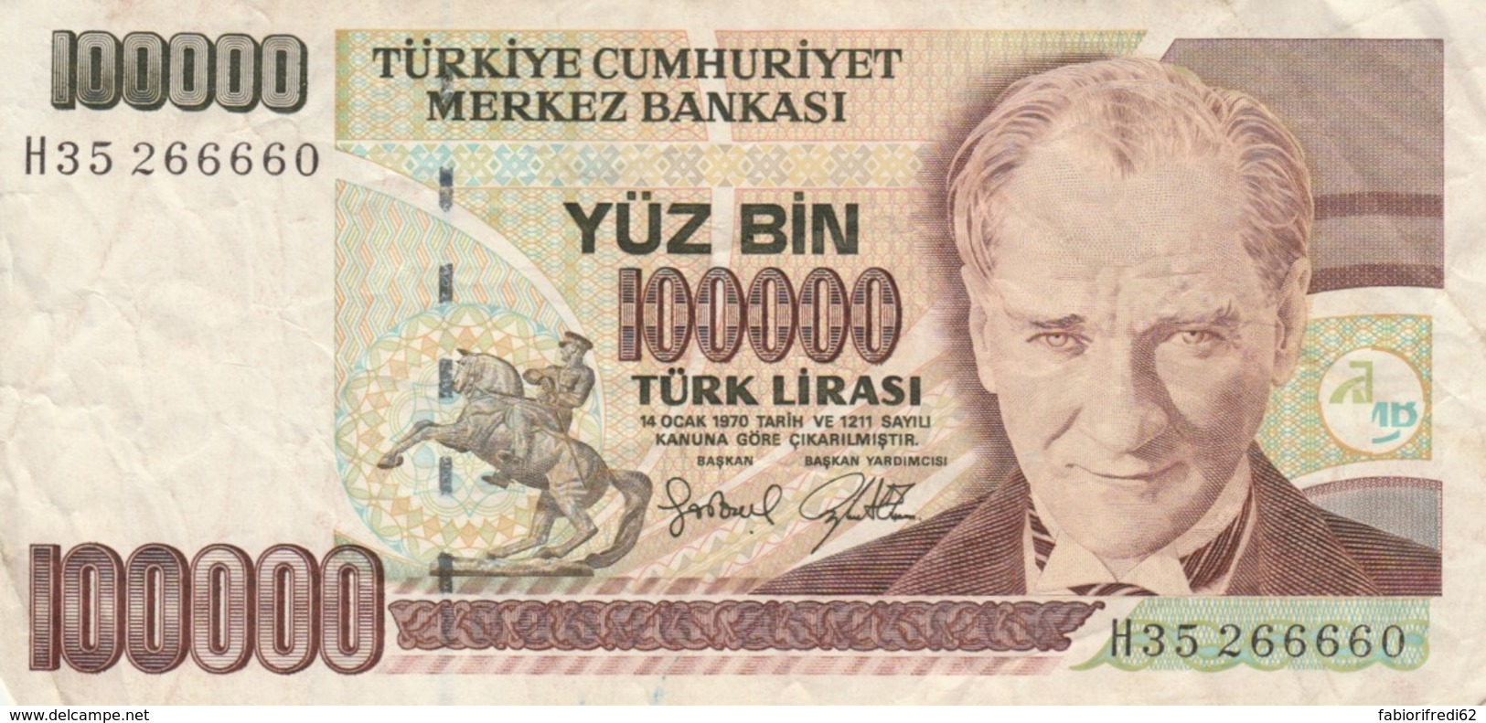 BANCONOTA TURCHIA 100000 LIRA VF (VX1583 - Turchia