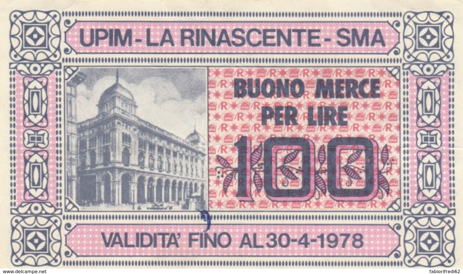 BUONO MERCE 100 LIRE UPIM LA RINASCENTE (VX1584 - [10] Assegni E Miniassegni