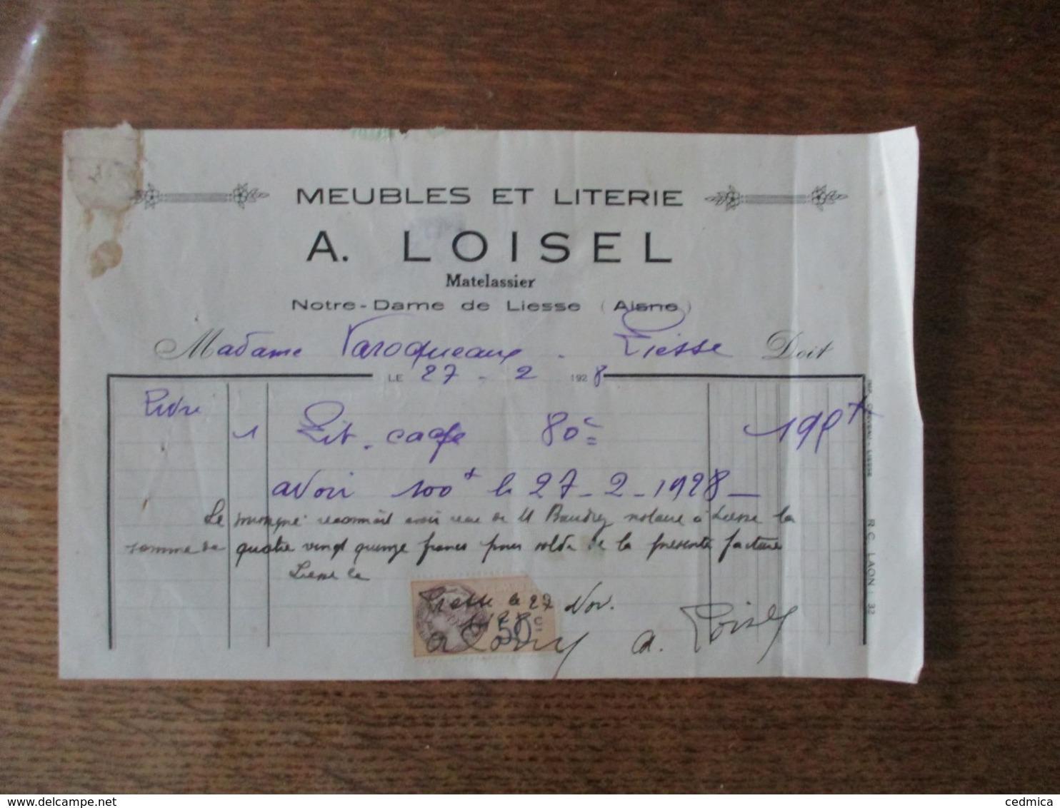 NOTRE-DAME DE LIESSE A. LOISEL MATELASSIER MEUBLES ET LITERIE FACTURE DU 27-2 1928 - 1900 – 1949