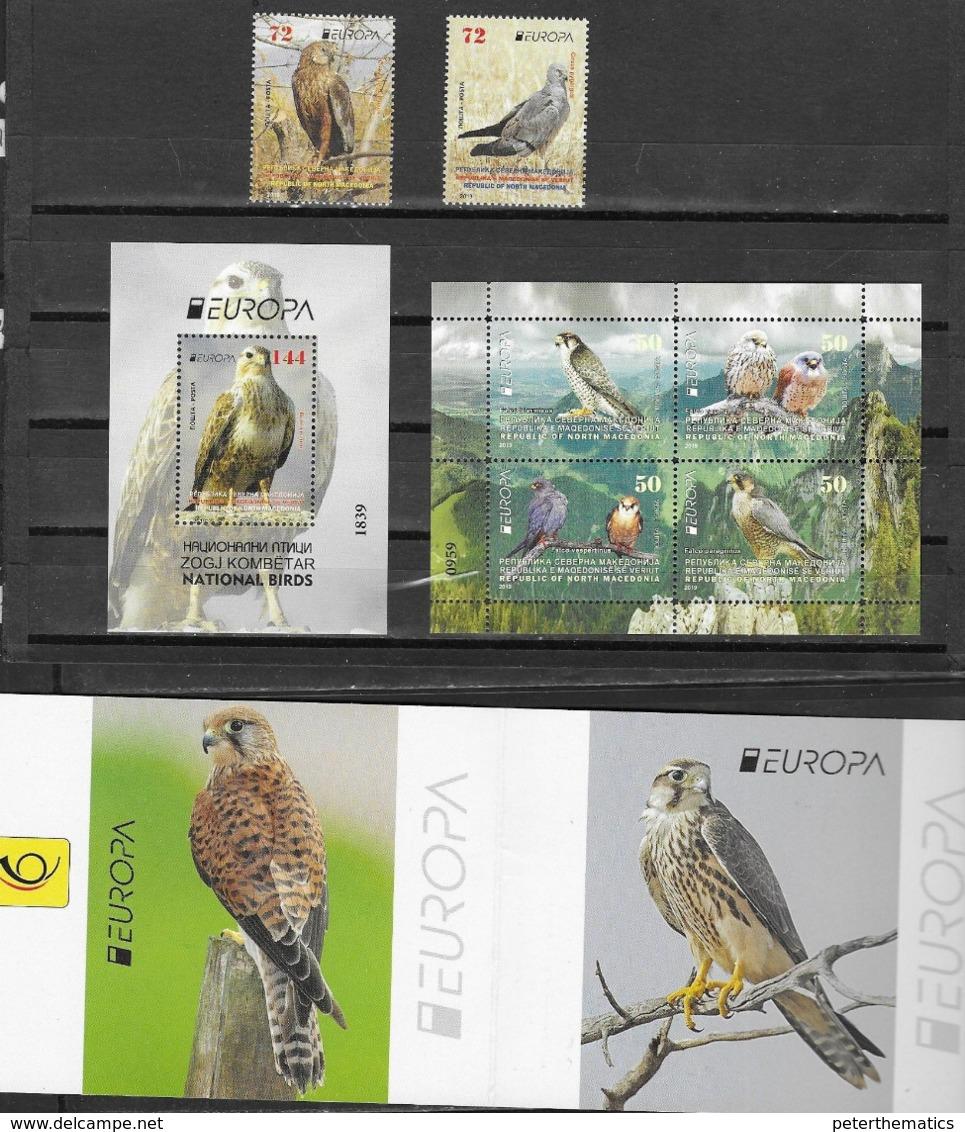 NORTH MACEDONIA, 2019, MNH, EUROPA, BIRDS, BIRDS OF PREY, 2v+SHEETLET+S/SHEET +BOOKLET COVER - 2019