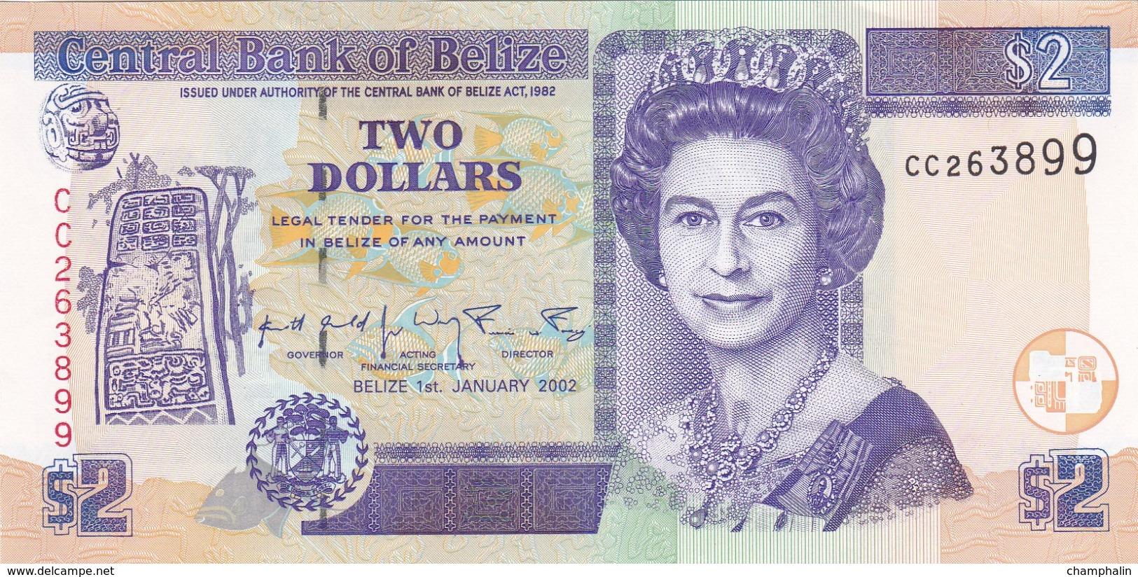 Belize - Billet De 2 Dollars - Elizabeth II - 1er Septembre 2002 - P60b - Neuf - Belize