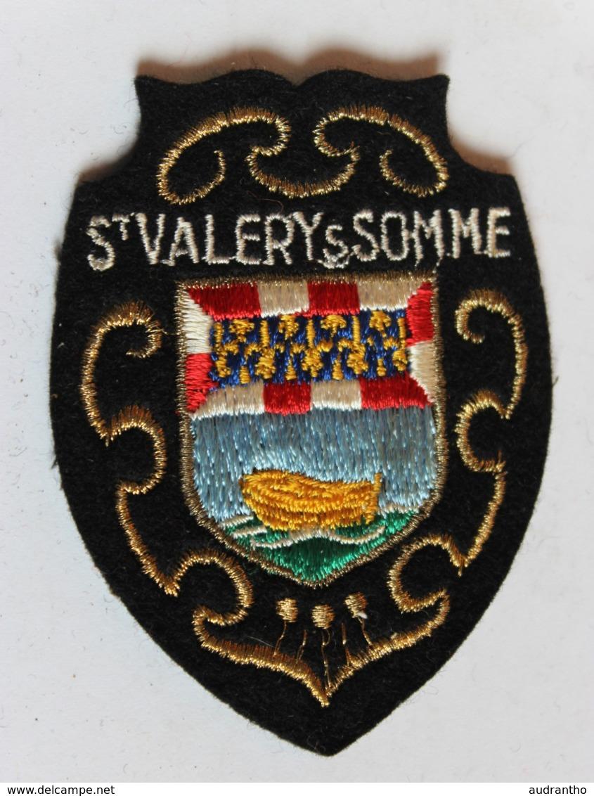 écusson Brodé Ancien Saint Valéry Sur Somme Armoiries Blason Sirène Et Ancre Marine - Scudetti In Tela