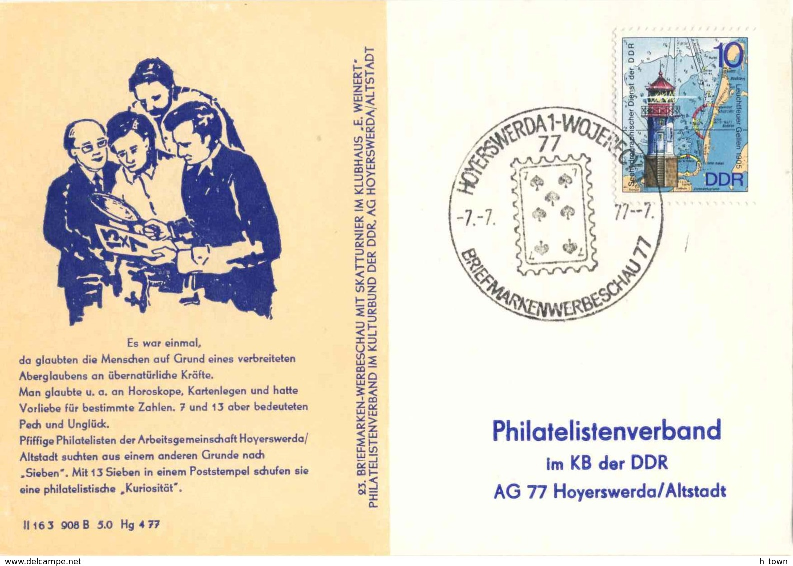 7289  Jeu De Cartes: Oblit. Temporaire D'Allemagne, 1977 -  Playing Card, Date 7.7.77: Pictorial Cancel From Germany - Spiele