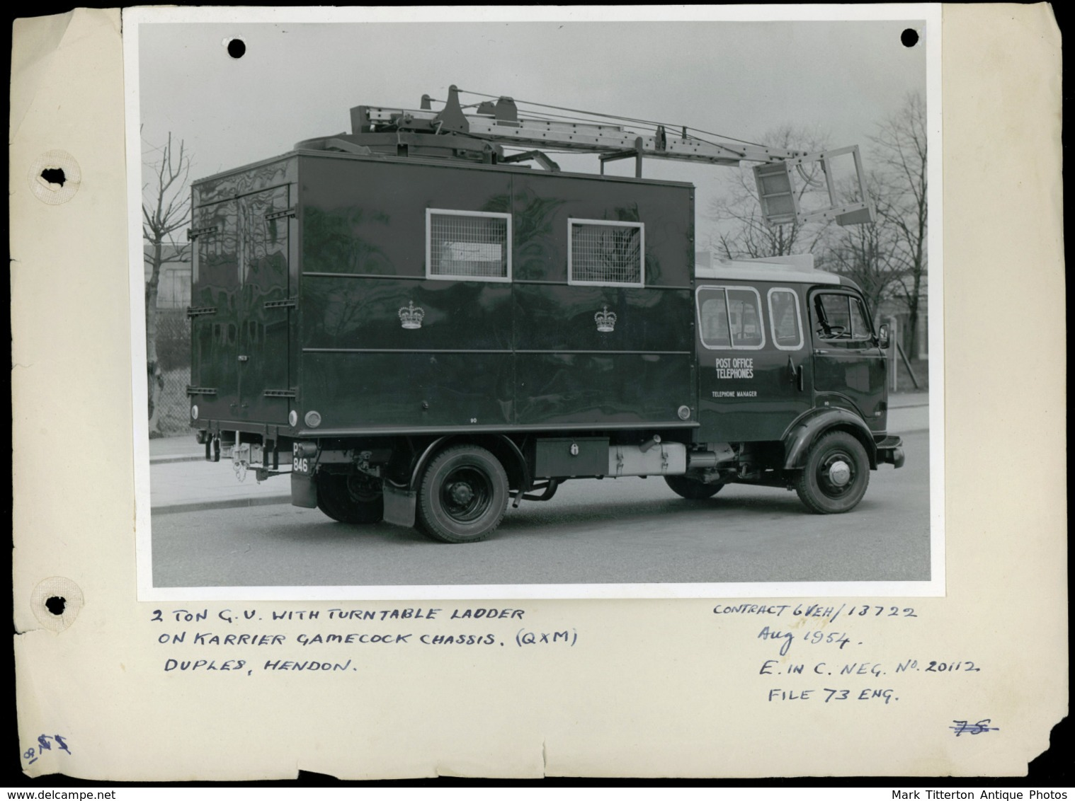 Original Photograph - 2 Ton GU Truck & Turntable Post Office Engineering-  (U.K.) - 1954 (20 X 15.5cm) - Foto