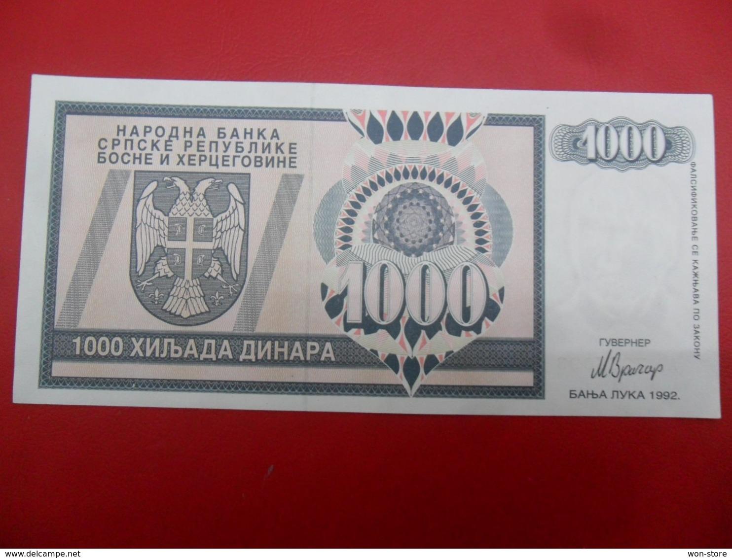 NB Republika Bosna I Hercegovina - Bosnia And Herzegovina 1000 Dinara 1992, P-137a, Price For 1 Pcs - Bosnia And Herzegovina