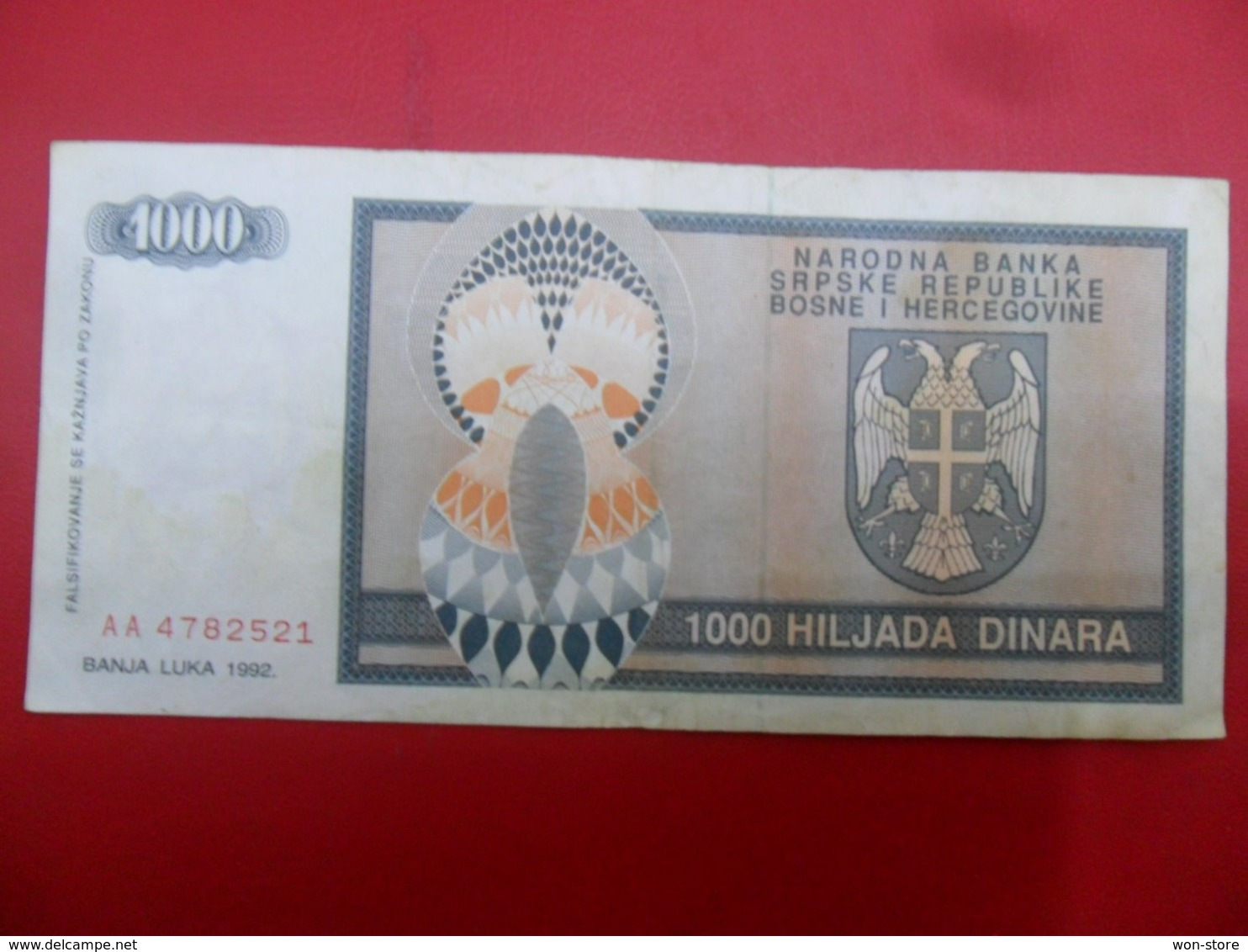 NB Republika Bosna I Hercegovina - Bosnia And Herzegovina 1000 Dinara 1992, P-137a, Price For 1 Pcs - Bosnia Erzegovina