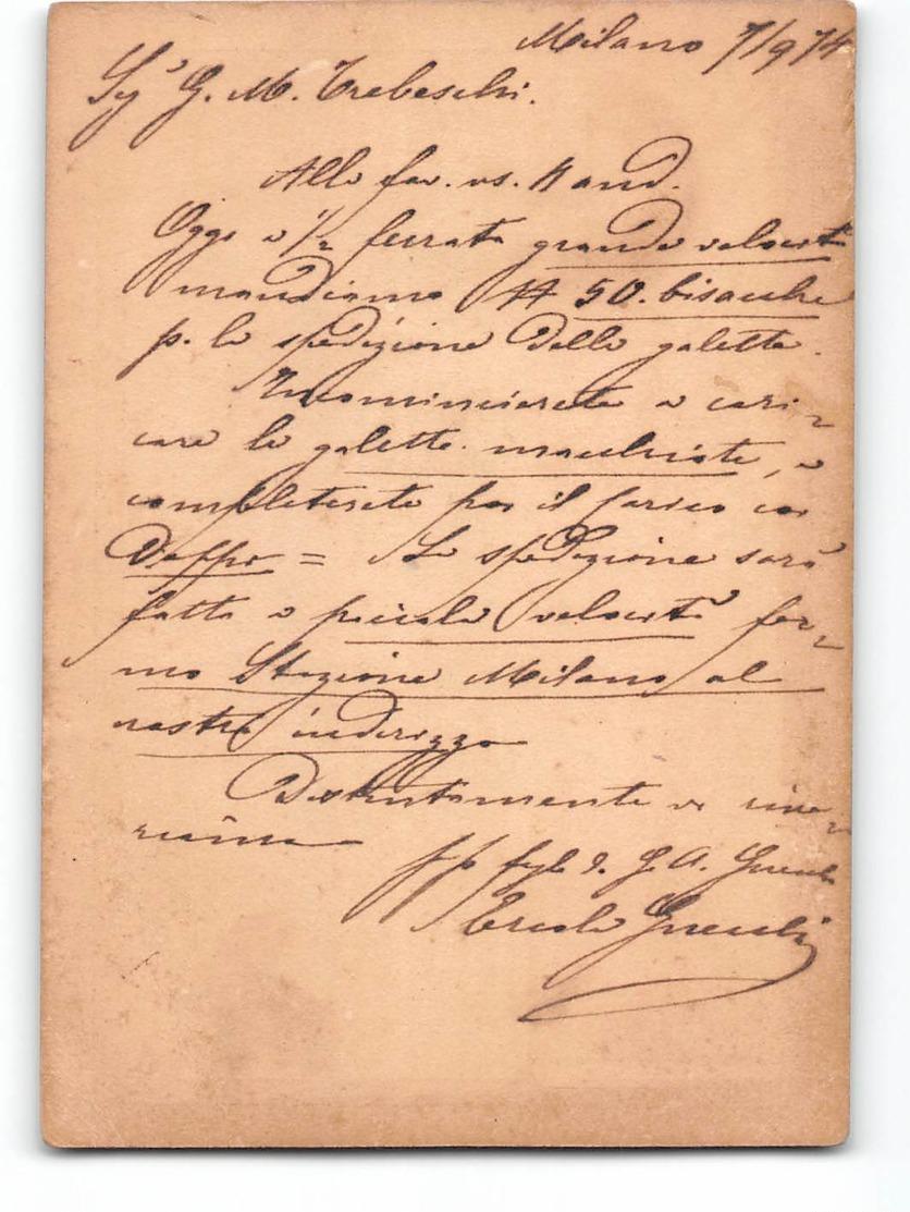 16595 01 CARTOLINA POSTALE 10 CENTESIMI -   MILANO X BRESCIA 1874 - 1861-78 Victor Emmanuel II