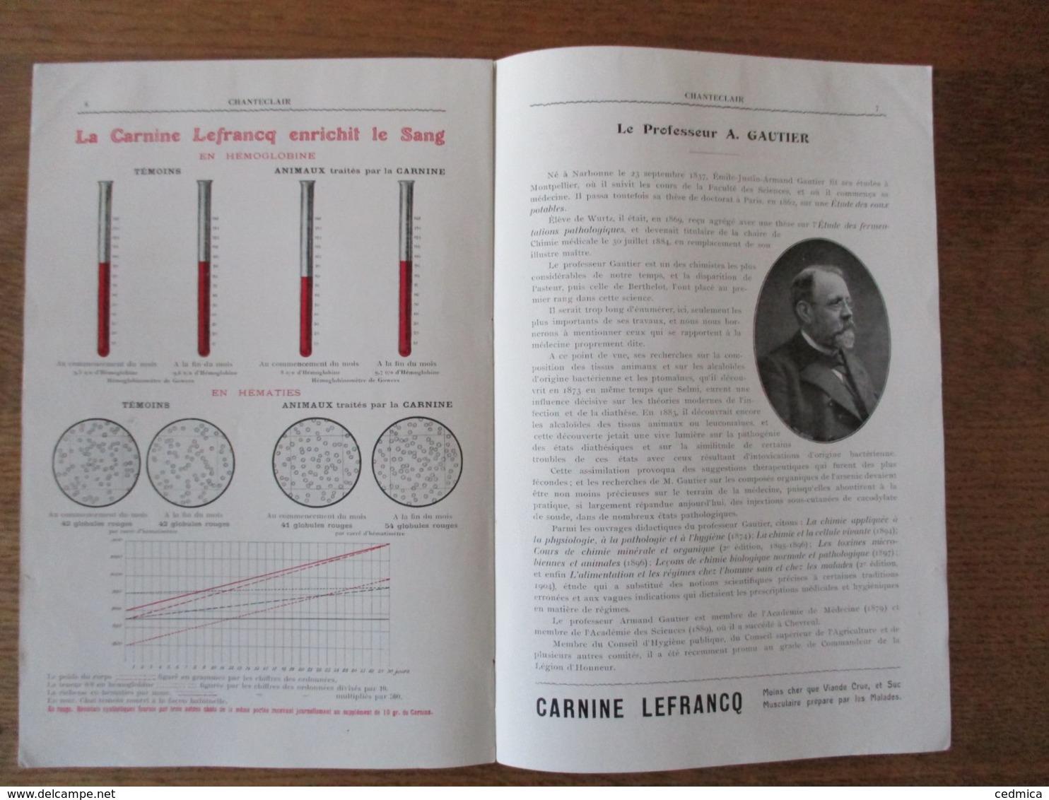 CHANTECLAIR MARS 1909 LE PROFESSEUR A. GAUTIER CARNINE LEFRANC ROMAINVILLE SEINE - Publicités