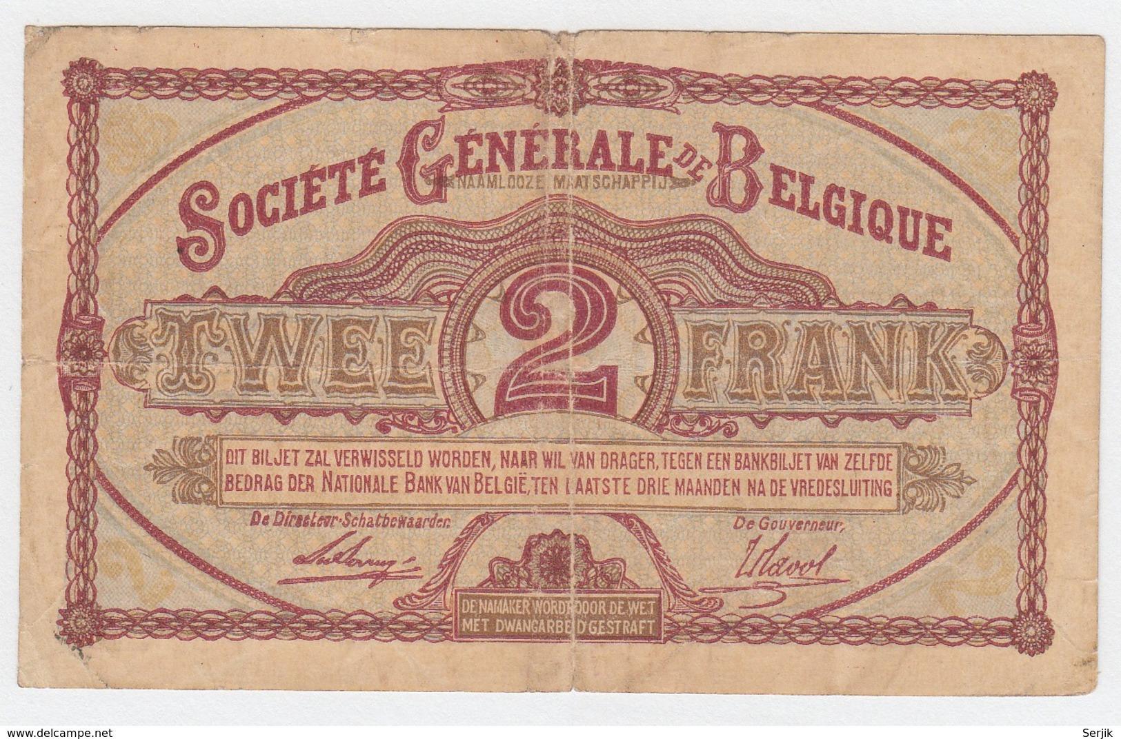 Belgium 2 Francs 1916 Fine Pick 87 - Autres