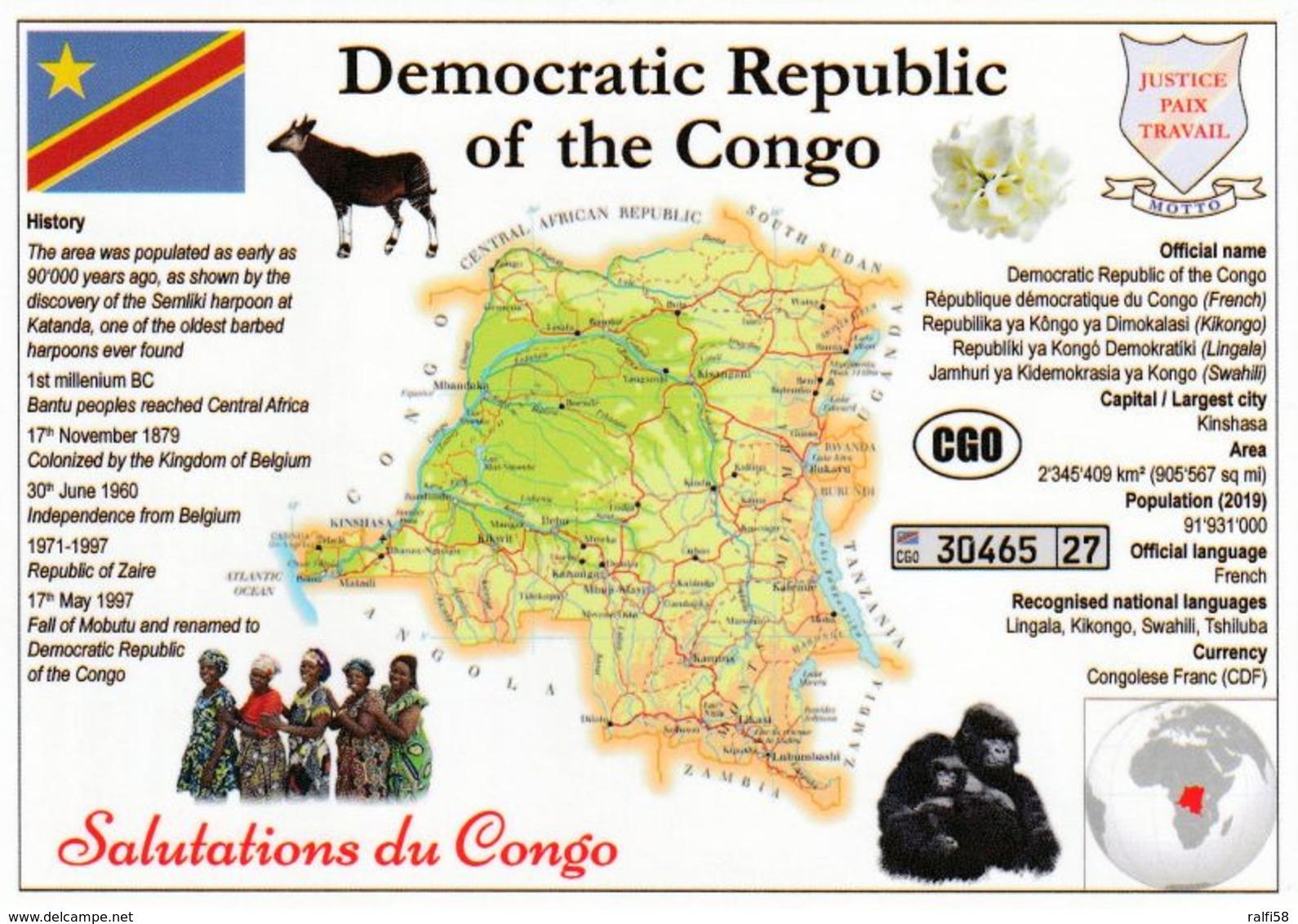 1 Map Of Democratic Republic Of Congo * Landkarte Demokratische Republik Kongo, Flagge Und Weiteren Informationen * - Congo - Kinshasa (ex Zaire)